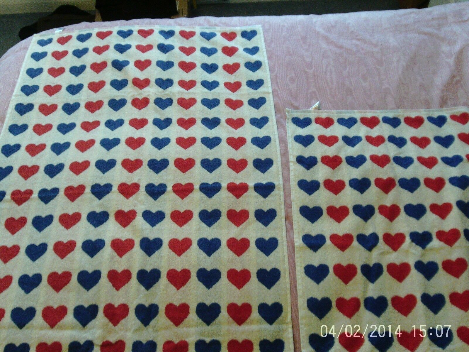 Brand New Heart Design Jacquard Set of Bath and Hand 100% Cotton Towels by Next