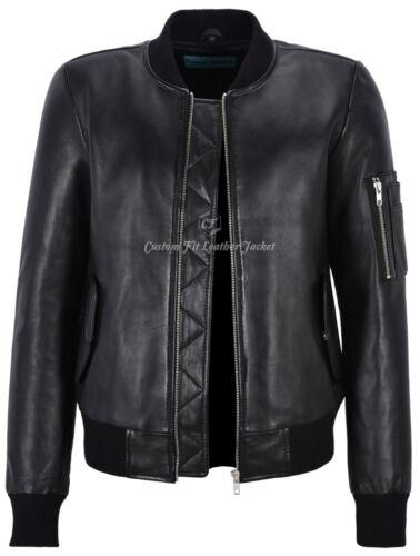 2348 100 Real Style Noir En Dames Cuir Pour Bomber Veste 6OzwFqx