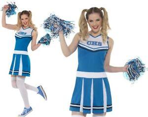 Mujer-Cheerleader-Disfraz-amp-POMPONES-Mujer-Azul-Disfraz-de-Smiffys