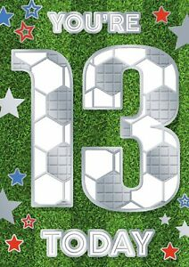 Boys You're 13 Today Birthday Card. Football Style Design For 13th Birthday