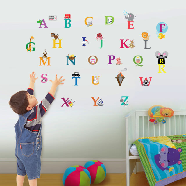 London Zoo Alphabet Kid's Boys Girls Babies Nursery Room Children Wall Stickers