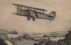 Aviation-drypoint-039-Away-Into-the-Blue-039-c1920s-by-J-Francis-Smith