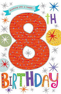 Wishing you a happy 8th 8 birthday bright party design happy image is loading wishing you a happy 8th 8 birthday bright bookmarktalkfo Image collections