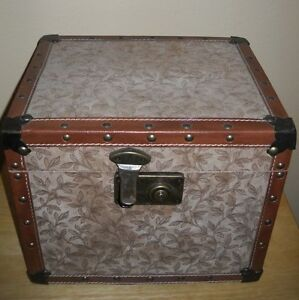 Vintage Antique Wooden Storage Box Treasure Chest Trunk Suede Leather 12x10x9.5