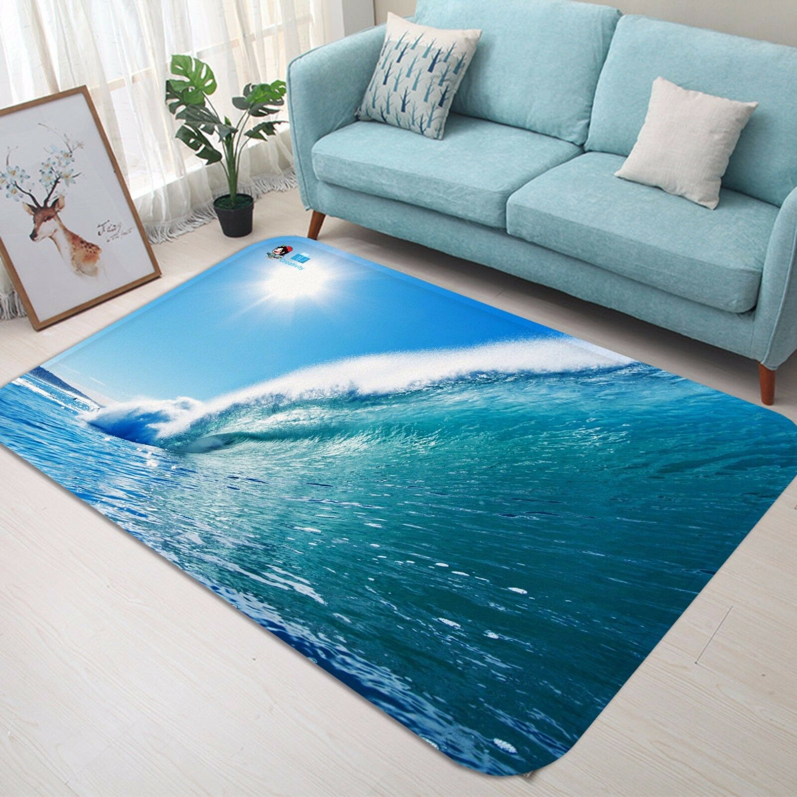 3D Wave Bule 50 Non Slip Rug Mat Mat Mat Room Mat Quality Elegant Photo Carpet US c5226c