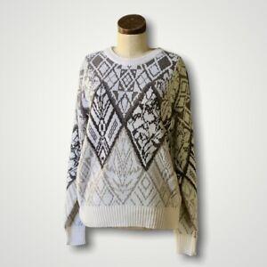 Vintage STEEP SLOPES 80's Geometric Ski Winter Sweater KOREA Medium