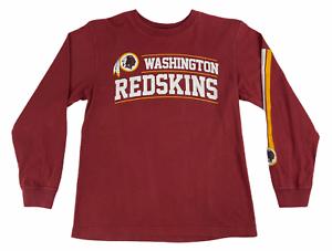 NFL-Boys-Washington-Redskins-Crew-Neck-Long-Sleeve-Red-T-Shirt-Size-Medium