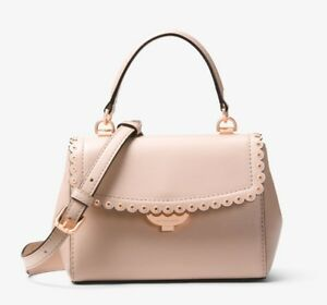3905a12878823 NWT Michael Kors Ava Extra-Small Scalloped Leather Crossbody Soft ...