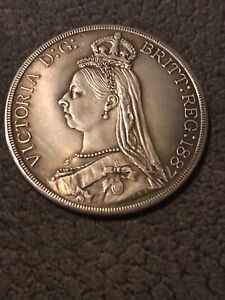 Rare Queen Victoria 1887 Silver Proof Welsh Crown Coin