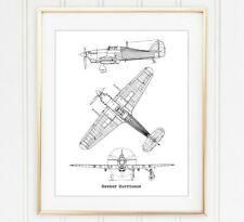 Hawker Hurricane Blueprint Wall Art, Aviation Print, 8x10