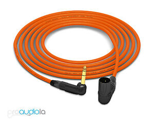 Mogami 2534 Quad Cable | Neutrik Gold 90º TRS to 90º XLR-M | Orange 40 Feet 40'