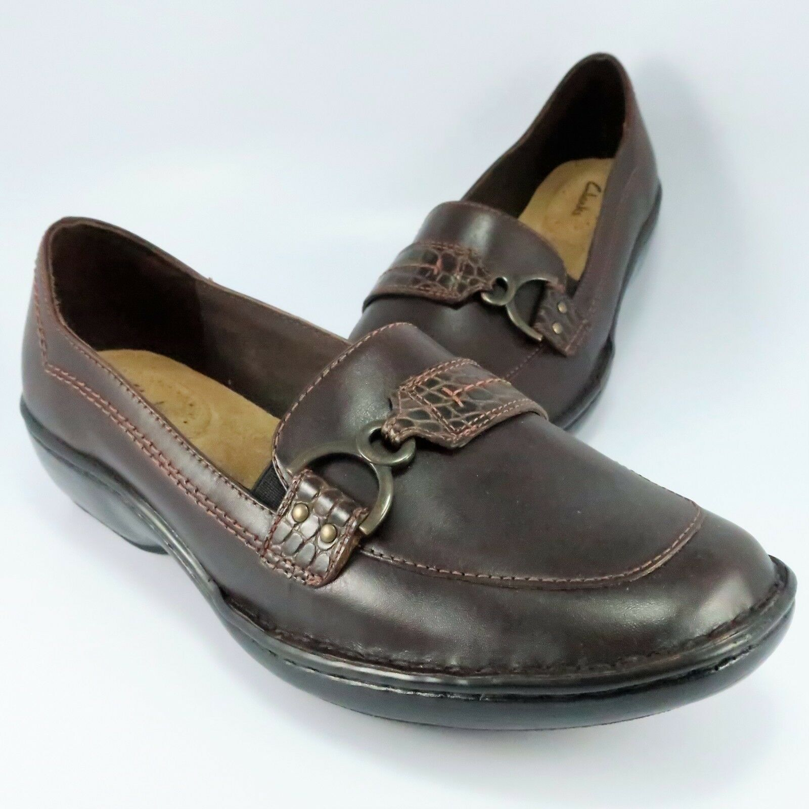 Clarks Slip-On Loafers Womens Size 8.5M Brown Leather Croc Moccasins Flats 77415