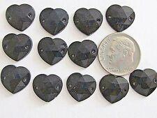12pc AUSTRIA SEW ON 2 HOLE HEARTS VTG BLACK CRYSTAL 14x12mm FLAT BACK LOT STONES