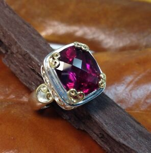 Sterling-Silver-925-Hand-Crafted-Ring-Pink-Tourmaline-Cushion-Checkerboard-Sz-7
