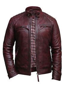Uomo-Giacca-di-pelle-da-motociclista-vintage-burgundy-100-vera-agnello