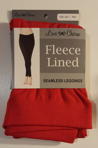 or S//M - 2 Pairs 4-6 8-12 Seamless Leggings Fleece Lined  Red: M//L