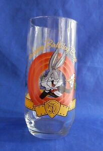 1990-Happy-Birthday-Bugs-50th-Anniversary-Drinking-Glass-16-Oz-Cup-Tumbler