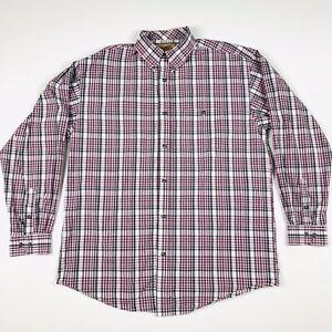 WRANGLER-20X-Button-Up-Purple-and-Gray-Plaid-Men-s-Long-Sleeve-Cotton-Shirt-XL