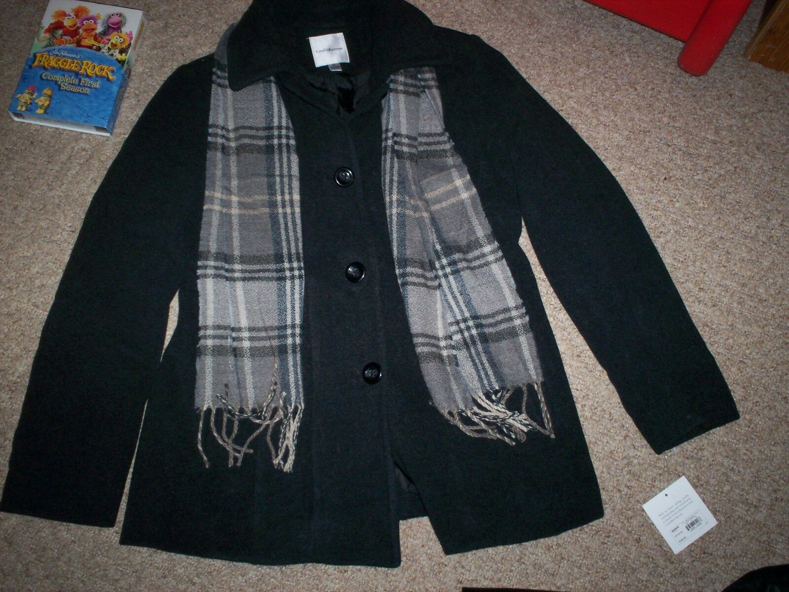 NEW NWT Croft & Barrow Charcoal Coat with Scarf Size MEDIUM LINED  180 MSRP