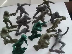 VINTAGE-1963-Lot-of-13-Louis-Marx-Toys-6-034-German-amp-American-Soldiers-RARE