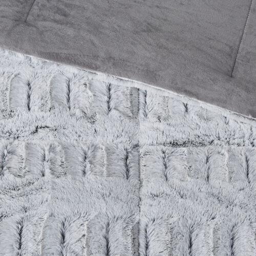 Lovely Snow Top Grey Faux Long Mink Fur 3 pcs Cal King Queen Comforter Set