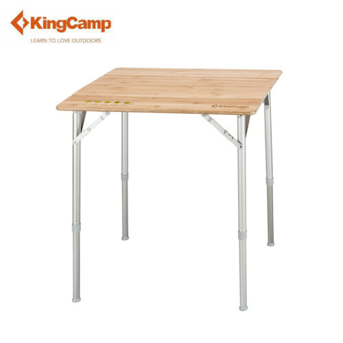 KingCamp Bamboo 4-Folding Camping Table Portable Height Adjustable Anti-UV S M L