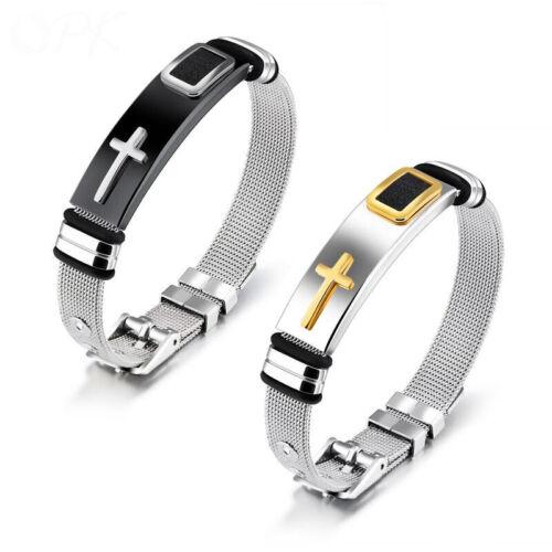 Style Western Homme Bracelet Titane Acier Croix Fashion Bracelet Cadeau