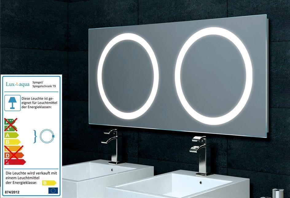Lux-aqua Badezimmerspiegel für Doppelwaschtisch mit Beleuchtung 120x55cm MF5120