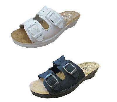 Damen Pantoletten Clogs Hausschuhe Schuhe Komfort Fußbett Arbeit Praxis Gr.36-41 100% Garantie
