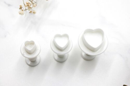 Polymer Clay Tool Mini Hearts Cookie Cutters 3pc Baking Fondant Plunger