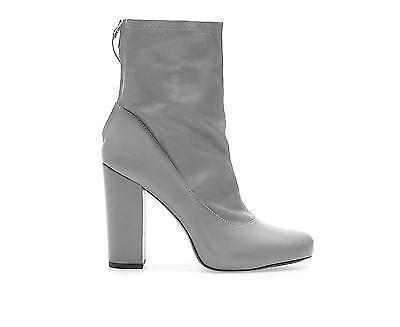 Zara en cuir grise stretch talon haut Bottines intérieur Plateforme eu36 uk3 us6