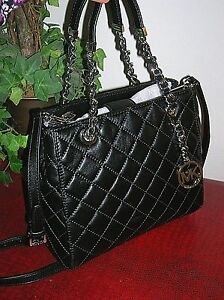 6d73e38592bf Image is loading MICHAEL-Michael-Kors-Black-Susannah-Quilted-Lamb-Leather-