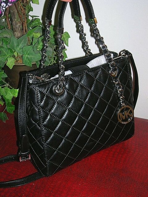 0014508fedeb Michael Kors  Susannah  Quilted Leather Satchel Small Black for sale ...