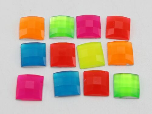 200 Mixed Neon Color Flatback Acrylic Faceted Square Rhinestone Gems 8X8mm