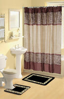 Bou Brown Leopard 17-piece Bathroom Set Bath Rugs Shower Curtain & Rings 2towels