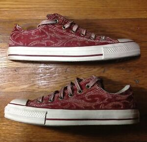 CONVERSE ALL STAR CHUCKS LOW PAISLEY TEXTURED TAPESTRY RED WINE ...