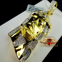 Yellow Gold Finish Real Diamond Jesus Face Piece Head Pendant Charm 2.75 Inch