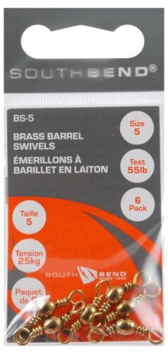 5905 South Bend Brass Barrel Swivel Size 5 Test 55lb 6pc BS-5