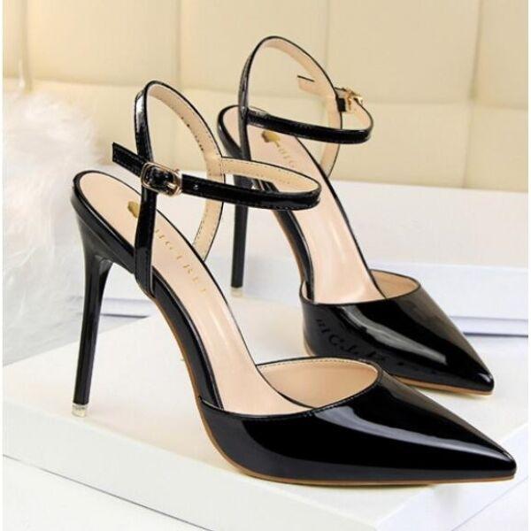 Sandali decolte pelle sintetica 10.5 cm eleganti stiletto negro lucido CW682