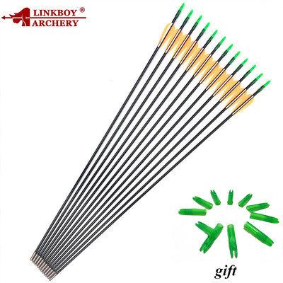 "12CS Hunting Archery Fiberglass Arrows Field Point Target Practice 28/"" 29/'/' 30/"""