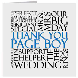 Thank You Pageboy Wedding Word Card Or Gift Tag Uk Free Post Ebay