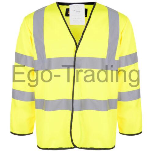 High vis visibilità manica lunga sicurezza Cappotto Giacca Hi Viz Giallo Arancione rrp £ 12