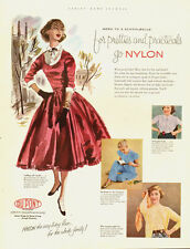 1952 Vintage ad for DuPont Nylon Stockings/art/Lady/Nice Dress/Gloves (071413)