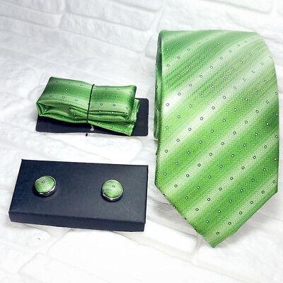 100% Wahr Luxus Krawatte Manschettenknöpfe + Einstecktuch Grün Seide Morgana Marke Italien