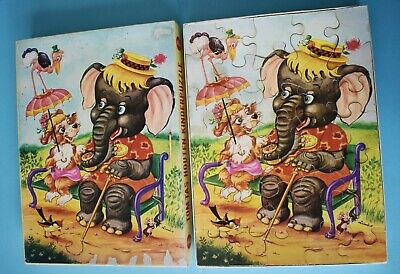 60iger Holz Kinder-puzzle Tom Tas Houten Michaelis Elefant Hund Cocker Spaniel