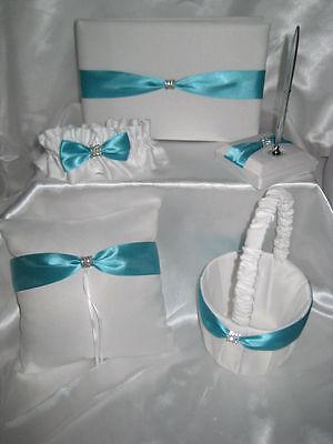 BEAUTIFUL WHITE POOL AQUA WEDDING SET PILLOW GUEST BOOK FLOWER GIRL BASKET