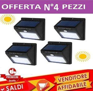 4-Lampada-Solare-Esterno-Giardino-Faretto-Fotovoltaico-Sensore-Luce-20-LED-Faro