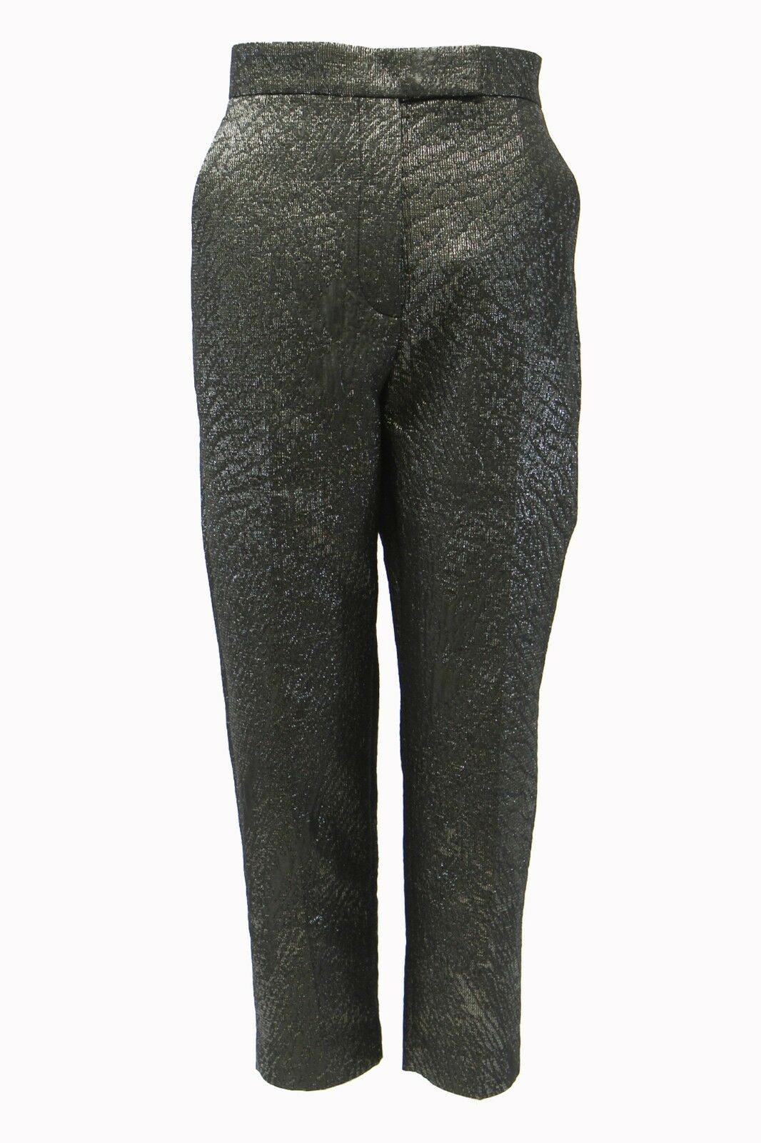 NWT 1195 Brunello Cucinelli Embroiderot Silber Lurex Brocade Dress Pant42 6 A181