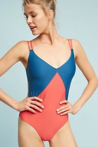 a02fc55e15 Image is loading NEW-Anthropologie-Double-Strap-One-Piece-Swimsuit-by-