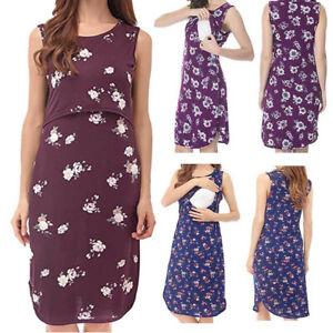 Women-Maternity-Summer-Casual-Floral-Tank-Vest-Sleeveless-Dress-Nursing-Sundress